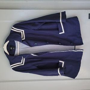 H&M Vintage Sailor Jacket Coat size 10 Navy